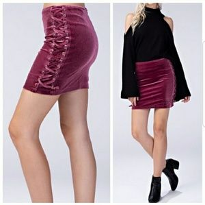 Dresses & Skirts - Dark Dusty Pink Lace-up Skirt